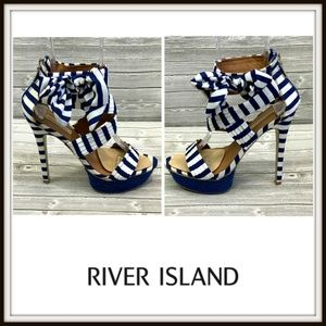 River Island Striped Platform Stiletto Sandals